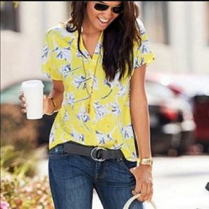 Cabi stevie yellow floral top.   Size xl